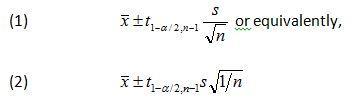 Two-sided confidence interval formula